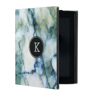 White & Blue-green Tint Marble Texture iPad Cover