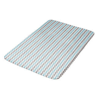 White, Blue, Grey Chevron Large Bath Mat
