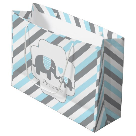 White, Blue & Grey Stripe Elephants Baby Shower Large Gift Bag