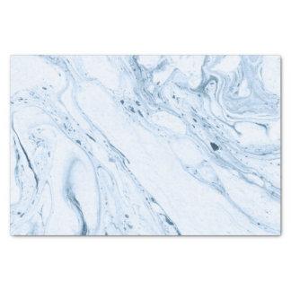 White & Blue Marble Swirls Tissue Paper