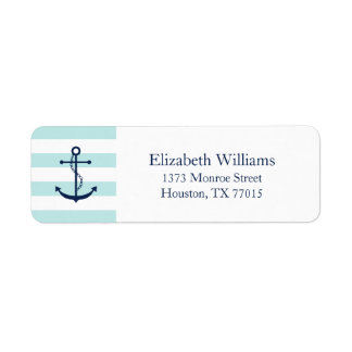White Blue Mint Anchor and Stripes