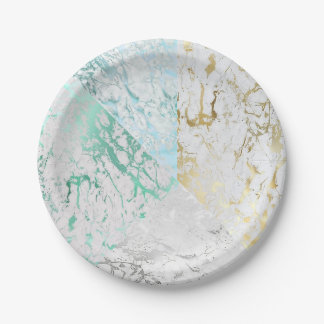 White Blue Mint Green Gold Silver Gray Marble VIP Paper Plate