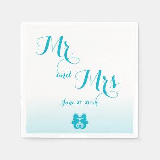 White Blue Mr. and Mrs. Seahorse Wedding Napkins Disposable Napkin