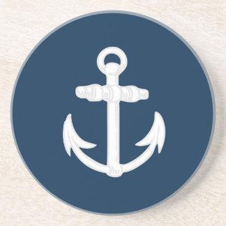 White/Blue Nautical Anchor Symbol Coaster