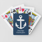 White/Blue Nautical Anchor Symbol Personalized Bicycle Playing Cards