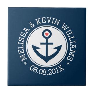 White & Blue Nautical Boat Anchor Illustration Ceramic Tiles
