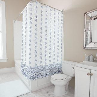 """White & Blue pattern"" Shower Curtain"