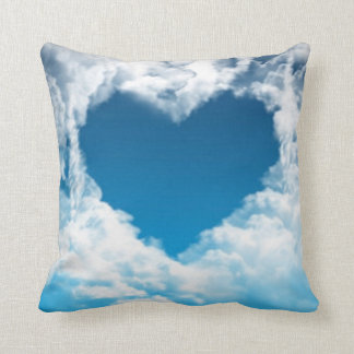 White Blue Sky Heart Shape Cloud Throw Pillow