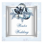 White Blue Snowflake Blue Winter Wedding Custom Invites