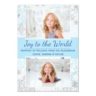 White/Blue Snowflakes 2 Photos - 3x5Christmas Card