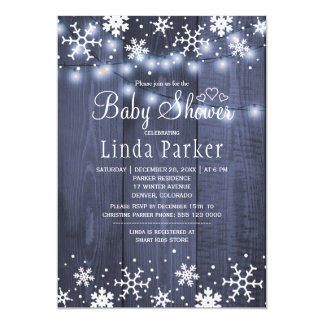 White blue snowflakes rustic winter baby shower card