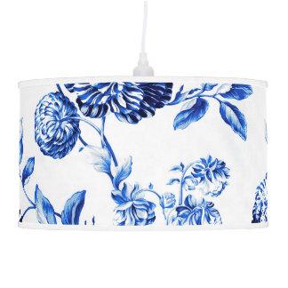 White & Blue Vintage Botanical Floral Toile Pendant Lamp