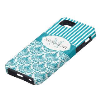 White & Blue Vintage  Flowers & Stripes iPhone 5 Case
