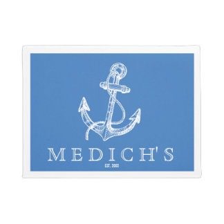 White & Blue Vintage Nautical Boat Anchor Doormat