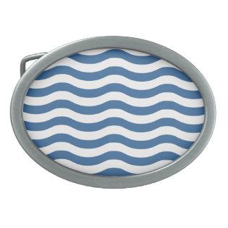 White Blue Wave Navy pattern Customize background Belt Buckles