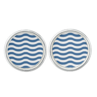 White Blue Wave Navy pattern Customize background Cuff Links