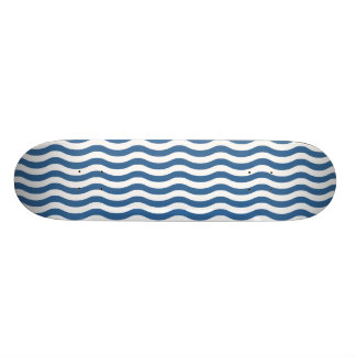 White Blue Wave Navy pattern Customize background Custom Skateboard