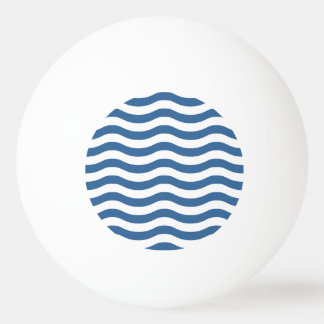 White Blue Wave Navy pattern Customize background Ping Pong Ball