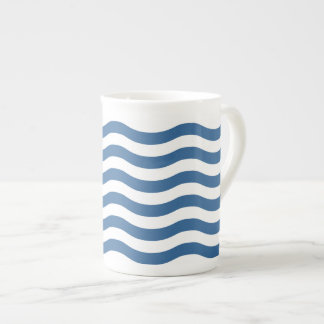 White Blue Wave Navy pattern Customize background Tea Cup