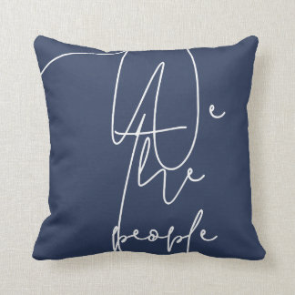 White Blue We the people Throw Pillow