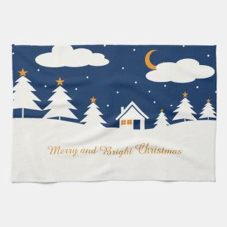 White Blue Winter Christmas Time Kitchen Towel