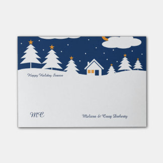 White Blue Winter Christmas Time Post-it Notes