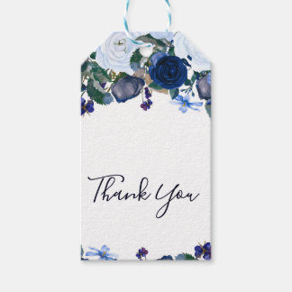 White & Blue Winter Floral Bouquet Chic Wedding Gift Tags