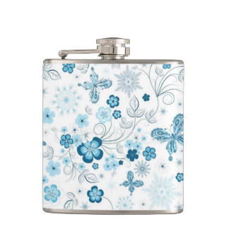 White Blue Winter Snowflakes Flowers Butterflies Hip Flask