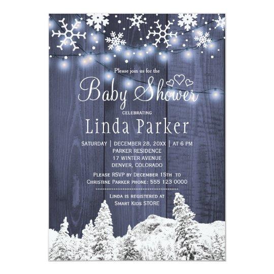 White blue wonderland rustic winter baby shower card