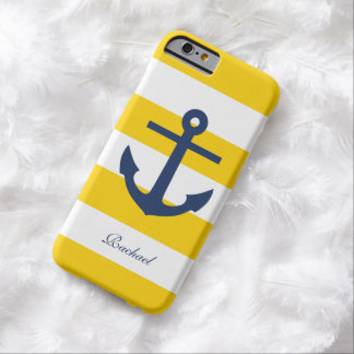 White Blue & Yellow Anchors Aweigh Barely There iPhone 6 Case
