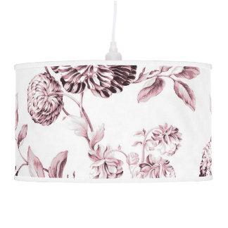 White & Blush Pink Botanical Floral Toile Pendant Lamp