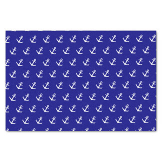 White Boat Anchors on Navy Blue Tissue Paper