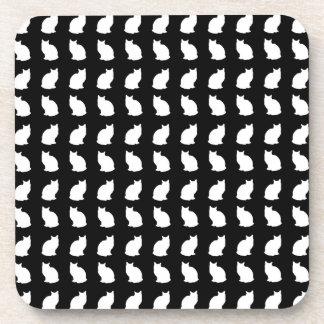 White Bobtail Cat Pattern Drink Coaster