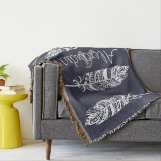 White Bohemian Tribal Feathers - Personalized Throw