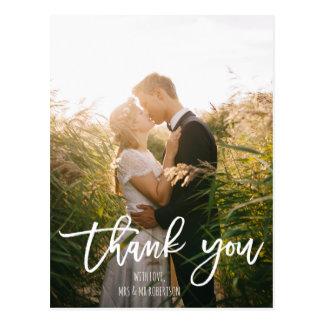 WHite boho elegant typography wedding thank you Postcard