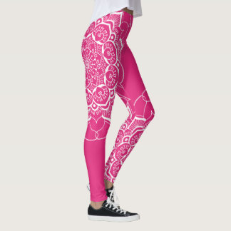 White Boho Mandala Pattern Hot Pink Leggings