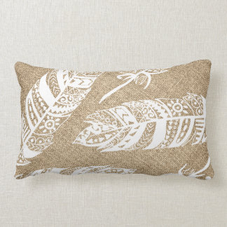 White Boho Tribal Feathers FAUX Burlap Lumbar Pillow