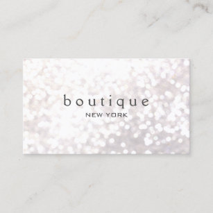 Fashion business cards profile cards zazzle ca white bokeh glitter modern fashion beauty business card reheart Gallery