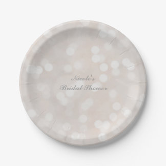 White Bokeh Modern Glamour Chic Party Plates 7 Inch Paper Plate