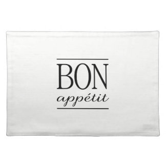 White BON APPETIT Black Dinner Quote Typography Placemat