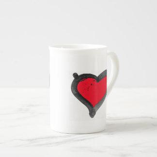 White bone china mug with bold brushed red heart