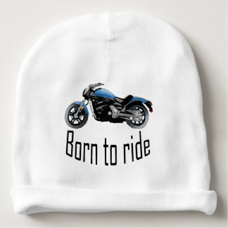 "White bonnet baby ""Born to wrinkle"", blue motor Baby Beanie"