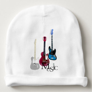 "White bonnet baby ""Guitar and Music "" Baby Beanie"