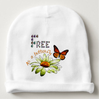 "White bonnet of birth ""Free ace has butterfly "" Baby Beanie"