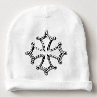 White bonnet of birth occitan Cross Baby Beanie