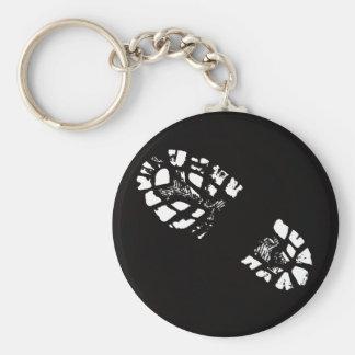 white Boot Print Basic Round Button Keychain