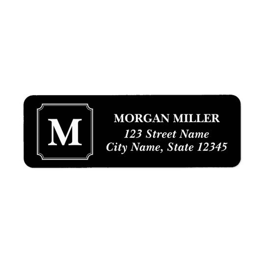 White Border Monogram Name Editable Colour Address Return Address Label
