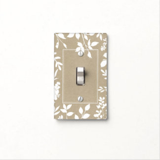 White Botanical Leaves Simple Natural Rustic Light Switch Cover