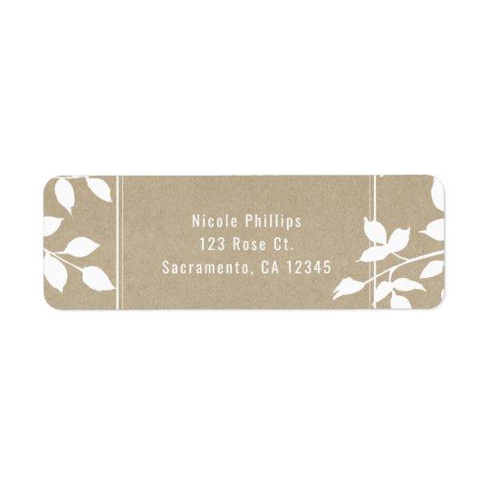 White Botanical Leaves Simple Rustic Wedding Return Address Label