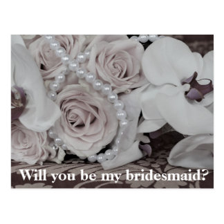 White bouquet Will you be my bridesmaid Postcard